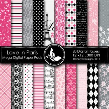 Love in Paris Digital Paper